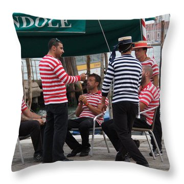Off The Canal Throw Pillow by Debi Demetrion