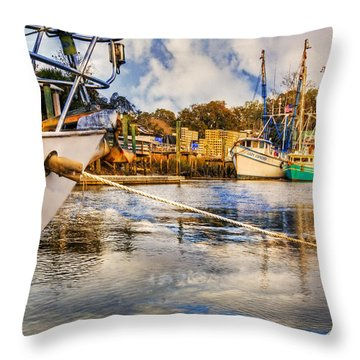 Off The Starboard Bow Throw Pillow by Debra and Dave Vanderlaan