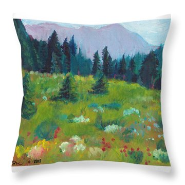 Throw Pillow featuring the painting Off The Trail by C Sitton