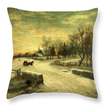 Off To Grandmas - Christmas Morning Throw Pillow