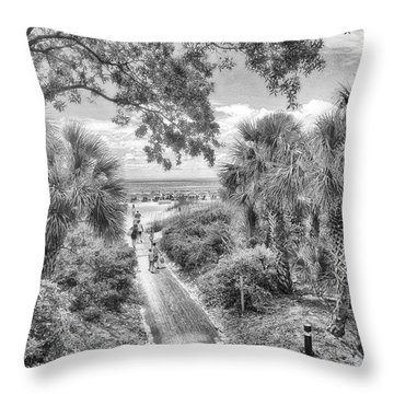 Throw Pillow featuring the photograph Off To The Beach by Howard Salmon