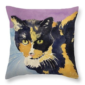Office Cat Throw Pillow by Barbara Tibbets