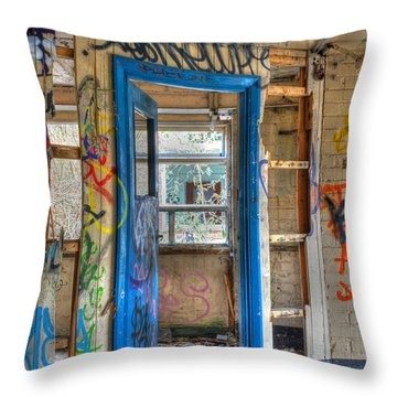 Office Closed Throw Pillow by David Birchall