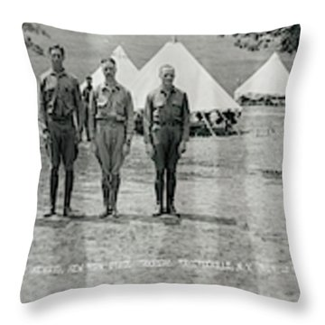 Officers At Camp Newayo, New York State Throw Pillow