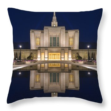 Ogden Temple Reflection Throw Pillow