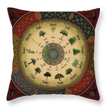 Ogham Tree Calendar Throw Pillow