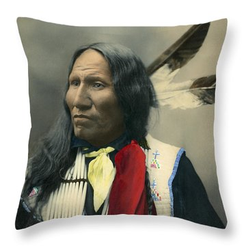 Throw Pillow featuring the photograph Oglala Chief Strikes With Nose 1899 by Heyn Photo