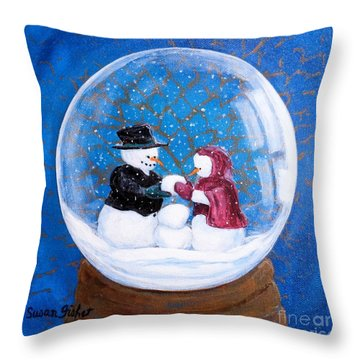 Throw Pillow featuring the painting Oh Baby Snow Baby by Susan Fisher
