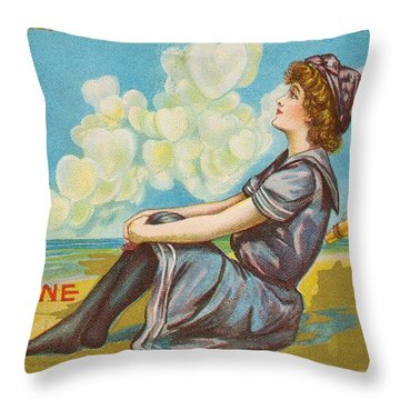 Oh Be My Valentine Postcard Throw Pillow by American School