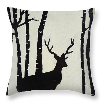 Oh Deer Throw Pillow by Leslie Manley