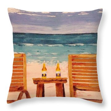 Two Corona's And A Beach Throw Pillow