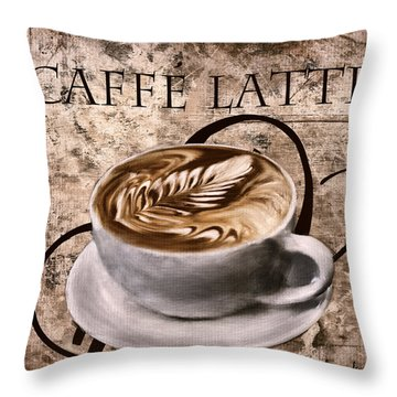 Oh My Latte Throw Pillow by Lourry Legarde