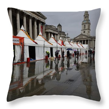 Oh So London - Rain Puddles And Reflections Throw Pillow by Georgia Mizuleva