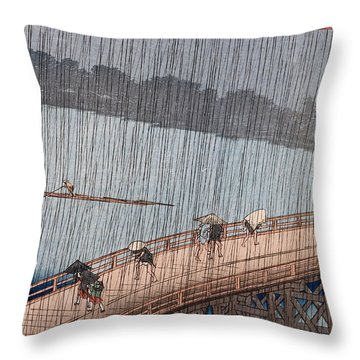 Ohashi Sudden Shower At Atake Throw Pillow by Ando Hiroshige