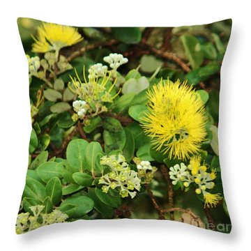 'ohi 'a Lehua And Buds Throw Pillow by Craig Wood