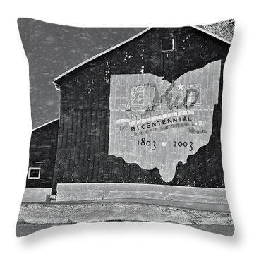 Ohio Barn In Winter Throw Pillow by Dan Sproul