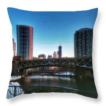 Ohio Street Bridge Over Chicago River Throw Pillow