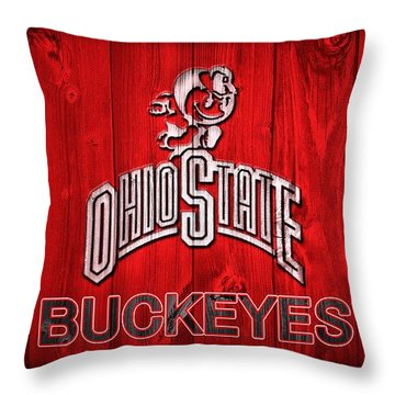 Ohio State Buckeyes Barn Door Vignette Throw Pillow