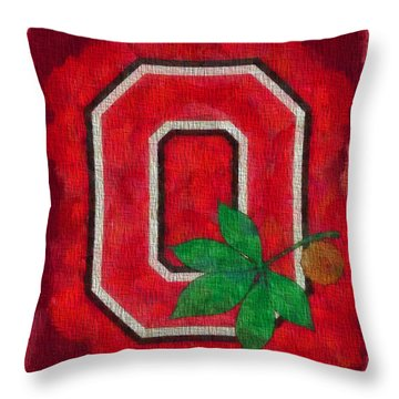Ohio State Buckeyes On Canvas Throw Pillow by Dan Sproul