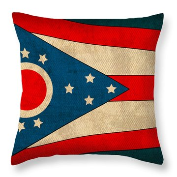 Ohio State Flag Art On Worn Canvas Throw Pillow