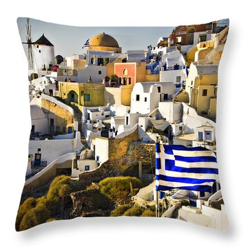 Throw Pillow featuring the photograph Oia And A Greek Flag by Meirion Matthias