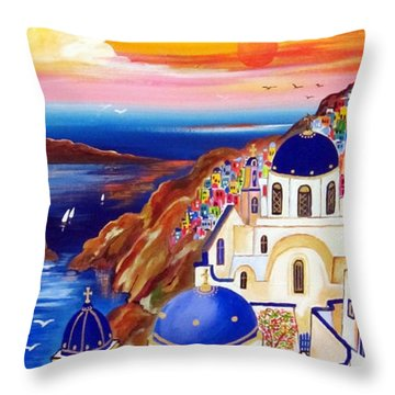 Oia Santorini Greece Throw Pillow