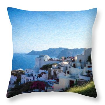 Oia Santorini Grk4332 Throw Pillow