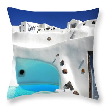 Throw Pillow featuring the photograph Oia Santorini  With Direct View To The Oceon Greece by Colette V Hera  Guggenheim