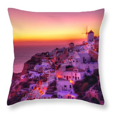 Oia Sunset Throw Pillow