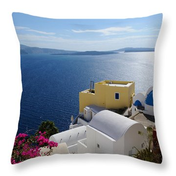Oia Village In Santorini Island  Throw Pillow by Haleh Mahbod