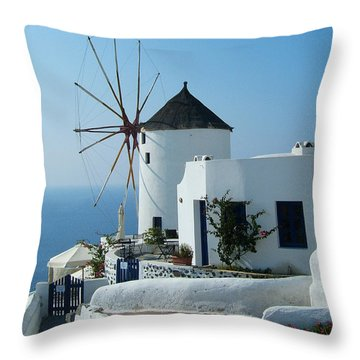 Oia Windmills Throw Pillow