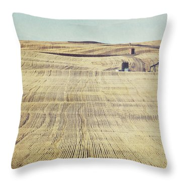 Oil And Gas Activity Among Throw Pillow by Roberta Murray
