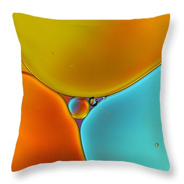 Oil And Water 13 Throw Pillow by Rebecca Cozart