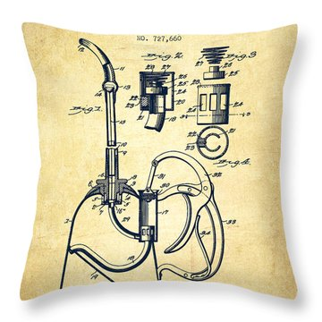 Oil Can Patent From 1903 - Vintage Throw Pillow by Aged Pixel