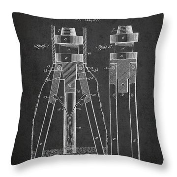 Oil Drill Patent From 1902 - Dark Throw Pillow