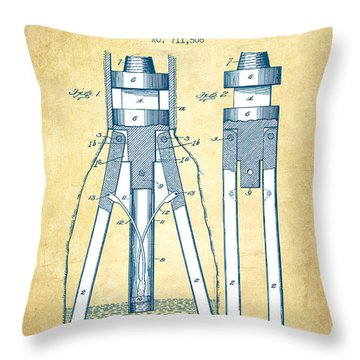 Oil Drill Patent From 1902 - Vintage Paper Throw Pillow