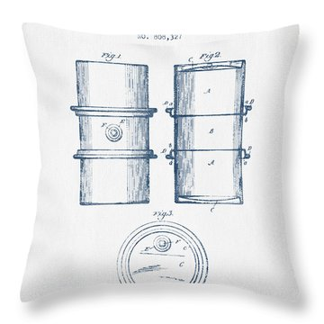 Oil Drum Patent Drawing From 1905 -  Blue Ink Throw Pillow