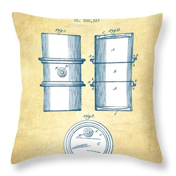 Oil Drum Patent Drawing From 1905 - Vintage Paper Throw Pillow