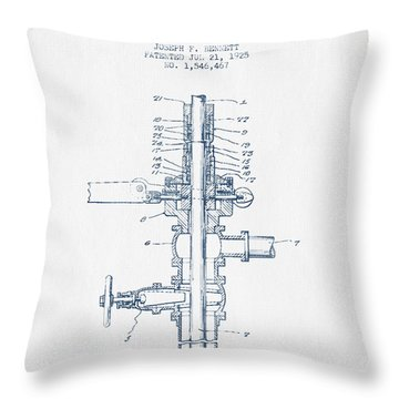 Oil Or Gas Drilling Mechanism Patent From 1925 -  Blue Ink Throw Pillow