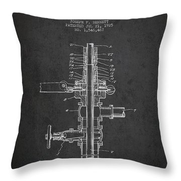 Oil Or Gas Drilling Mechanism Patent From 1925 - Dark Throw Pillow