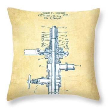 Oil Or Gas Drilling Mechanism Patent From 1925 - Vintage Paper Throw Pillow