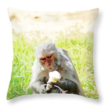 Oil Painting - A Monkey Eating An Ice Cream Throw Pillow by Ashish Agarwal