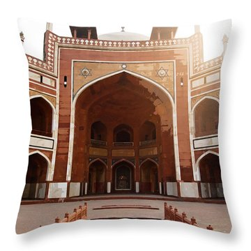 Oil Painting - Cross Section Of Humayun Tomb Throw Pillow by Ashish Agarwal