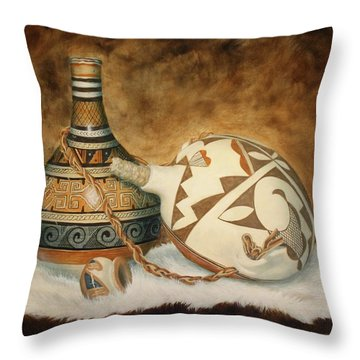 Oil Painting - Indian Pots Throw Pillow