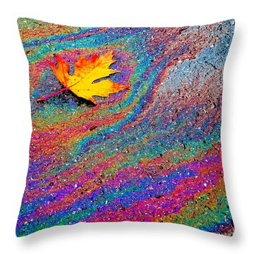 Oil Painting Leaf Throw Pillow