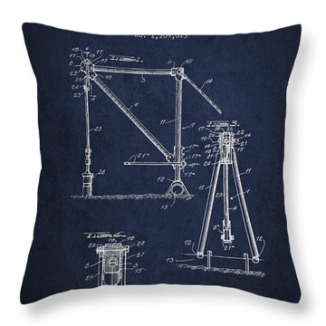 Oil Pump Jack Patent Drawing From 1916 - Navy Blue Throw Pillow