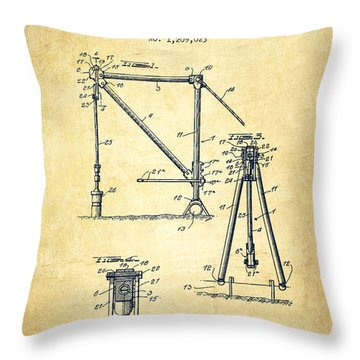 Oil Pump Jack Patent Drawing From 1916 - Vintage Throw Pillow