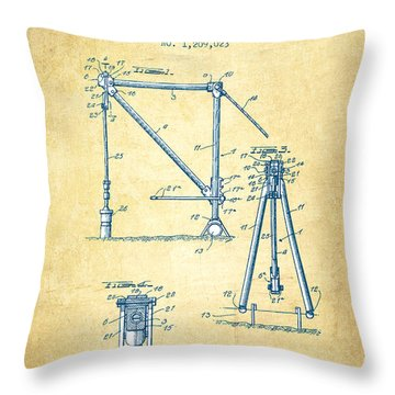 Oil Pump Jack Patent Drawing From 1916 - Vintage Paper Throw Pillow
