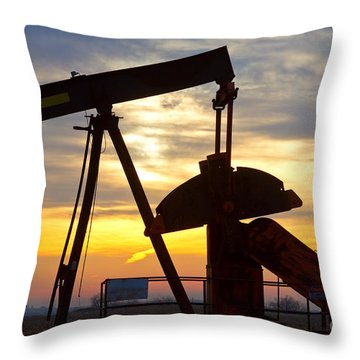 Oil Pump Sunrise Throw Pillow