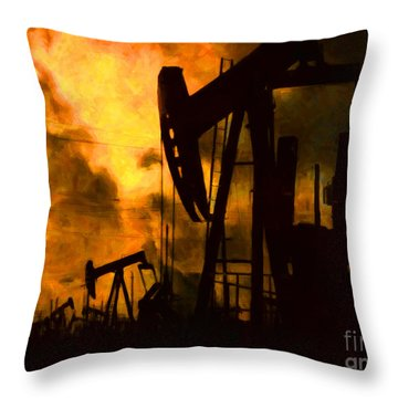 Oil Pumps Throw Pillow
